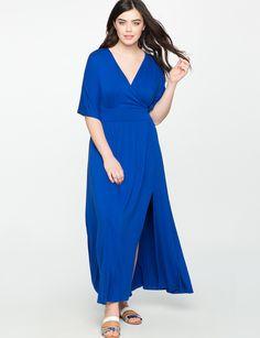 Kimono Sleeve Maxi Dress BLUE SATIN