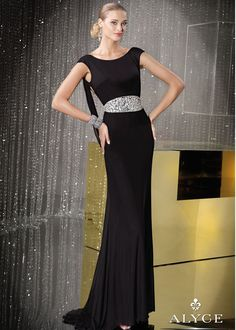 Alyce 29688 - Black Open Back Mother of the Bride Gown - RissyRoos.com