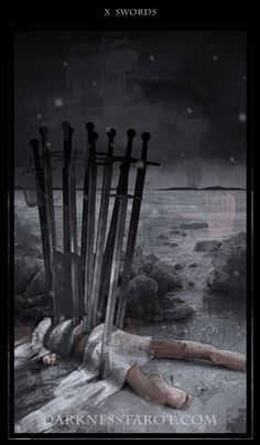 Ten of Swords. darknesstarot.com #tenofswords #tarot #tonydimauroart #darknesstarot