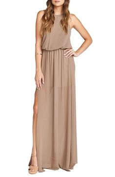 Free shipping and returns on Show Me Your Mumu Heather Chiffon Halter Gown at Nordstrom.com. For summer weddings—or any special occasion calling for free-spirited chic—a flowy chiffon gown cuts away to show off shoulders with a blousy, open-back bodice featuring a high, halter neckline suspended from adjustable ties. An A-line skirt gathered to an elasticized waistline moves effortlessly, thanks to a high slit that also reveals a flirty glimpse of leg with every step.