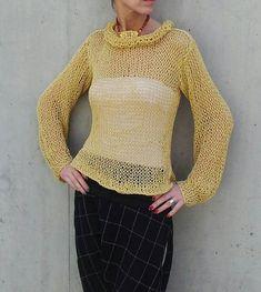 El suéter amarillo amarillo verano suelto punto suéter por ileaiye