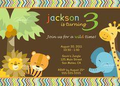 Safari Jungle Digital Birthday Invitation  Boy by SwishDesigns, $15.00