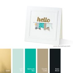 Gold, Soft Sky, Bermuda Bay, Crumb Cake, Basic Black #StampinUpColorCombos