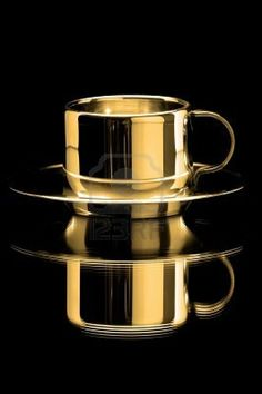 Gold Cup and Saucer . Reflection . Black and Gold