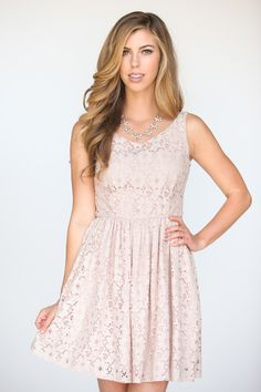 This soft and dainty pink lace dress is versatile and flattering. We love wearing it Sunday brunch, on a weekend...