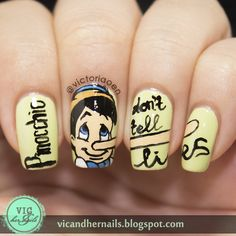 Vic and Her Nails: Digital Dozen Does Fairytales - Day 5: Pinocchio Nail Art, continuous design