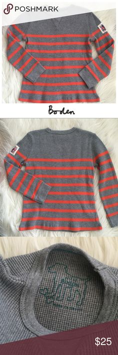 ✨HOST PICK✨ Mini Boden Thermal Top Adorable Mini Boden thermal striped long sleeve top in gray and orange. Size 5-6. Logo patch on the arm. Fantastic quality. Hope you enjoy 😘 Mini Boden Shirts & Tops Tees - Long Sleeve