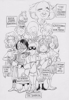 Chris Riddell honours the #ChildrensLaureate alumni in his own special way with personalised drawings.