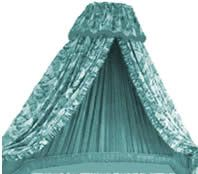 Coronet Bed Drape How to A coronet bed drape consists of curtains and a valance which are draped from a curved board. The board is fixed to the wall at a convenient height above the head of the bed. Lined curtains are hung to softly drape down either side of the bed and are held back with either tie backs or hold backs.