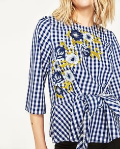 Image 6 of EMBROIDERED GINGHAM TOP from Zara