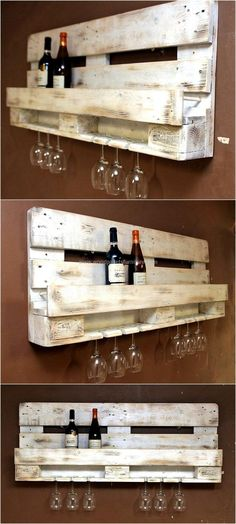 There are many ideas for which the wood pallets can be restyled for saving the space and here is one of the creative ideas. The repurposed wood pallet drink rack plan doesn't only contain the space to place the bottles, but it also has a space to fix the glasses.