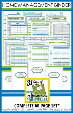 Complete Home Management Binder...this is a really good set of printables for a home management binder - you can buy them all at once, or print them out one by one for free. love them! #FinanceBinder