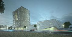 Trade Centre visualization with SketchUp. Morphosis like architecture. CG render