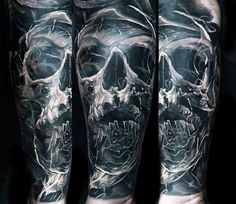 Realistic Skull Tattoo by Domantas Parvainis | Tattoo No. 13793