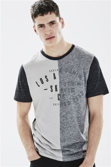 Buy Grey Split Graphic T-Shirt from Next France Tartan Men, Mens Fashion Wear, Man Fashion, Mens Trends, Camisa Polo, Polo T Shirts, Casual T Shirts, Printed Shirts, Shirt Designs