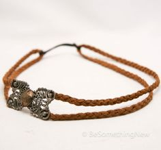 Leather Headband Bohemian Head Wrap in Brown Braided Leather and vintage silver Clasp Headband Hippie Hair Bands for Women