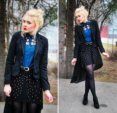 Wholesale Dress.Net Cross Collar Tips, Afwshop Net Blouse, 2nd Hand Belt, H Blazer, Random Shop In Milan Skirt, Skopunkten Heels