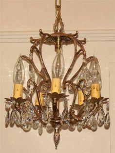 Vtg-1950s-60s-Ornate-Hanging-Brass-Crystal-Light-Fixture-Hall-Foyer-Lighting