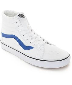 The Vans Sk8-Hi has been a staple in the shoe game since it's inception and have now been reissued in classic colorways. This throwback high top style features a True White canvas upper contrasted by a True Blue leather logo on the sides and Vans waffle t
