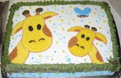 Giraffe Baby Shower Cake made this to match her nursery wall hanging, i made the corners into little palm trees as well. all buttercream Giraffe Birthday Cakes, Giraffe Cupcakes, Giraffe Party, 3rd Birthday Cakes, Baby Shower Giraffe, Baby Shower Fun, 1st Birthday Girls, Baby Shower Parties, Birthday Ideas