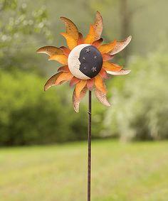 Look what I found on #zulily! Moon & Sun Metal Solar Spinner Stake #zulilyfinds
