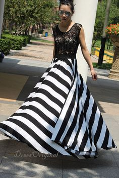 2014 Lace dress/maxi dress/ black/white stripe by DressOriginal