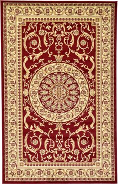 Red 5' 0 x 8' 0 Classic Aubusson Rug | Area Rugs | eSaleRugs