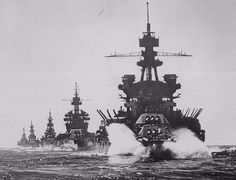 Battleships Pennsylvania and Colorado lead three heavy cruisers into Lingayen Gulf to support landings in the Phillipines. Jan 1945.