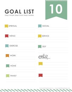 How to actually get things done - free 10 goals printable