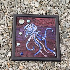 Mosaic Stained Glass Jellyfish Journey Fantasy Art by wjoydesigns