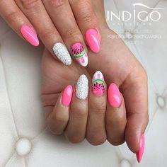 Los Flamingos & Pixel Effect Śnieżka by Indigo Nails Dope Nails, Fun Nails, Dream Catcher Nails, Nail Drawing, Watermelon Nails, Super Cute Nails, Mirror Nails, Indigo Nails, Magic Nails