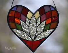 Stained Glass Suncatcher, Heart Shaped Lotus Flower Window Hanging, Stained Glass Flower, Anniversary Gift, Valentine, Wedding, Meditation