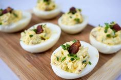 These deviled eggs are a delicious, high fat, low carb snack for on the go or as a party appetizer. Everyone will love the bacon and chive combination!