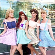 Pin for Later: 37 Creative Disney Princess Group Costumes Disneybounding Princesses (Best Friend Costumes) Cute Group Halloween Costumes, Fete Halloween, Cute Costumes, Disney Costumes, Halloween Outfits, Cute Best Friend Costumes, Disney Princess Halloween Costumes, Disney Outfits, Girl Outfits