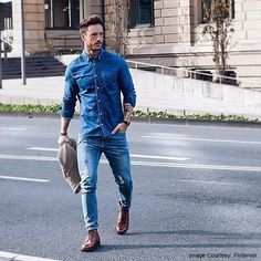 Stay ahead of the game with the double denim look!  Get your perfect denim shirts at 16stitches.com.  #menswear #weekend #lookbook #denim #shirts #style #fashion #game #saturday #sunday #lookoftheday #instapic #instalike #instagood #trend #trendy #bespoke #custom #tailored #menstyle #mensfashion #brunch #igers