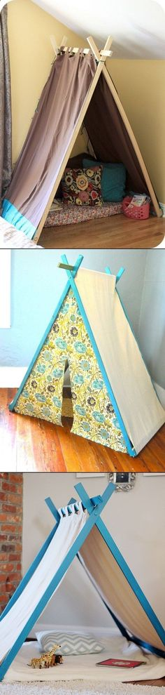 DIY Play Tent For Kids.what kid doesn't love a tent! Kids Crafts, Projects For Kids, Diy For Kids, Diy And Crafts, Craft Projects, Craft Ideas, Kids Corner, Kids Playing, Playroom