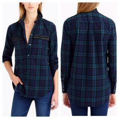 J.Crew beaded popover in black watch plaid J.Crew (retail) button-up popover top. Beaded chevron details on both front pockets.  Green/black (black watch) plaid. Only worn once. In perfect condition. No missing beads or signs of wear. Sold out and hard to find item. J. Crew Tops Button Down Shirts