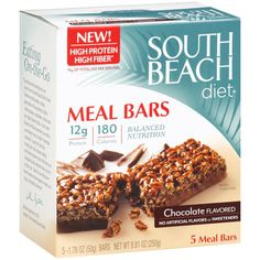 South Beach Diet Chocolate Meal Bars. Cut in half, these are a *decent* substitute for 1 of your 5 meals on the 5&1 if you want more options. The calories and carbs are right on target, and they have an awesome amount of fiber, but the protein is too low (6g per serving, cut) to be eaten as more than 1 meal. Keto Smoothie Recipes, Diet Recipes, Keto Meal Plan, Diet Meal Plans, Low Fiber Diet, 200 Calorie Meals, Vegan Keto Diet, Diets That Work, Grapefruit Diet