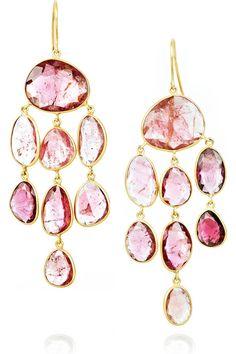 18-karat gold jellyfish drop earrings with pink tourmaline stones