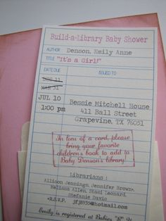 library book invite! So cute, and dang it, I just sent out baby shower invites 2 weeks ago. Had I seen this, I definitely would've done this.