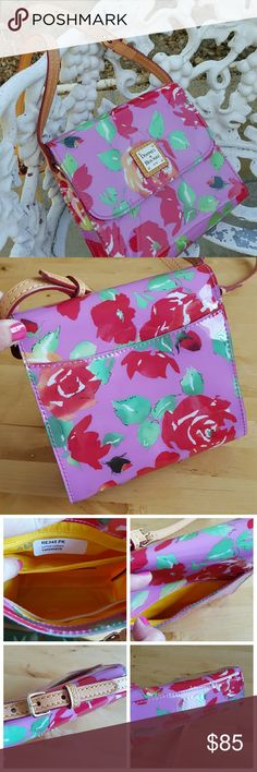 """Dooney & Bourke Pink Letter Carrier Letter carrier with pink rose garden print. Adjustable leather strap. One side pocket, two inside pockets. Small, light scratches on front, back, and bottom but they are hard to see. Excellent condition and used only once. Authentic and beautifully made.  About 6.5"""" high, almost 7"""" across and abour 2.5"""" wide at bottom.  No trades, Paypal, or holds. Dooney & Bourke Bags Crossbody Bags"""