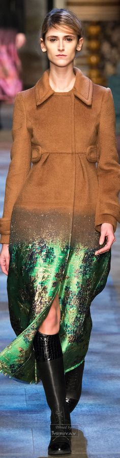 ERDEM I WANT TO COME TO YOUR STUDIO & SLAP YOU !!!  THE GREEN METALLIC BOTTOM-LOVE IT HOWEVER USING TAN CASHMERE/WOOL HALFWAY MAKES THIS COAT TRASH-    ERDEM ARE YOU BLIND , STUPID OR BOTH???  WHY ERDEM DID YOU RUIN IT ???  Erdem.Fall 2015.