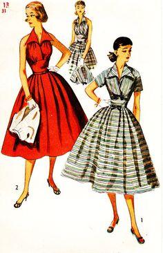 Simplicity 4249 Vintage 1950s Halter Neck Dress by DRCRosePatterns