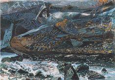 Mikhail Vrubel, Fallen Demon, watercolor on paper, 1901
