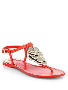 Diane von Furstenberg Daisy Leather Thong Sandals / Tangerine