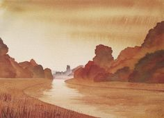 Autumn fountains Abbey, Watercolour, Ian Scott Massie