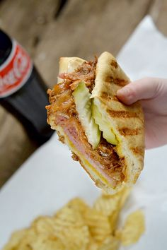 Cubano Sandwich - This sumptuous grilled sandwich—a crusty roll filled with roast pork, ham, Swiss cheese, and pickles— made famous in the movie Chef. You are going to love this delicious sandwich recipe. Cubano Sandwich, Grilled Sandwich, Sandwich Recipes, Appetizer Recipes, Appetizers, Sandwich Ideas, Appetizer Ideas, Boiled Ham, Ham Wraps