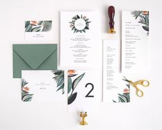Vera wedding day stationery | program, thank you card, place card, menu, table number | Tropical, birds of paradise, palm branches | by Rachel Marvin Creative