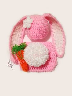 4e3e110a37e Items similar to Crochet Newborn Bunny Hat Diaper Cover Outfit