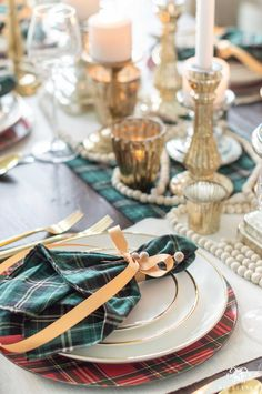 Check out my tartan plaid holiday themed Christmas home tour for ideas for every room (including bedrooms and a nursery! Christmas Tablescapes, Christmas Mantels, Christmas Table Decorations, Plaid Christmas, Christmas Home, Christmas Design, Christmas Ideas, Christmas Crafts, Merry Christmas